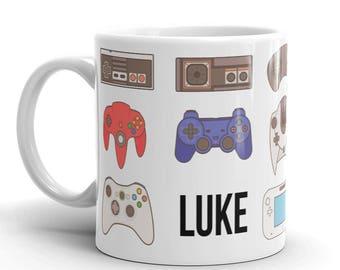Personalized Gamer Coffee Mug Gift, Retro Video Game Controller Mug, Funny Coffee Mug, Programmer Cup, Nerd Nurse Mug, Boss's Gifts
