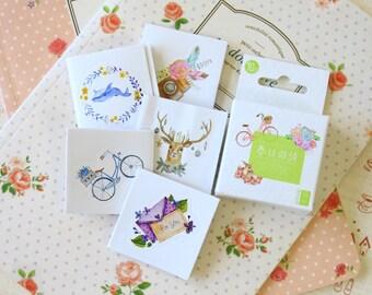 Nature cute cartoon shapes deco stickers