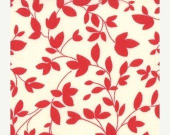 Fabric 25% off SALE OH DEER Momo Moda Fabric 3 yds modern quilting sewing retro graphic red cream leaves branches oop 3 full yards 16075-13