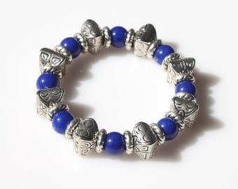 River Stone Stretch Bracelet - Silver Beads Bracelet - Gemstone Bracelet - Chunky Stone Bracelet - Everyday Bracelet - Beaded Bracelet