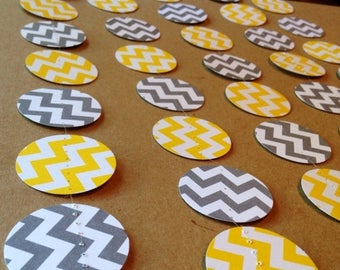 SummerSale Grey and White Chevron and Yellow and White Chevron Paper Garland Birthday Party Decor, Baby Shower Decor, Nursery Decoration