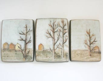 Triptych of ceramic tiles. Landscape, California, winter, fall, early spring, houses, trees, rural, natural, neutral, tan, beige, brown.