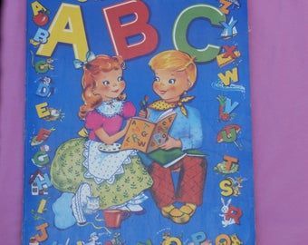Sound it Say It, Oversized, 1950s Era Vintage Coloring Book for Framing, Crafting, or Collages, Shabby Chic Sweetness