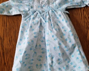 "Home Sewn Flannel Nightgown for 18"" Doll"