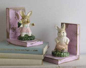 rabbits - home decor - handcrafted bookends - Bunnies on Pink Distressed - shabby chic decor - nursery decor