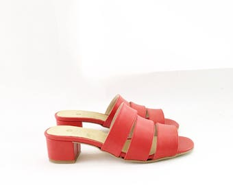 Poppy Faux Leather Strapped Mules (Handmade to order)