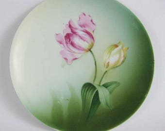 Vintage Reinhold Schlegelmilch RS Germany Hand Painted Plate Tulips
