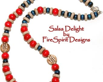 Salsa Delight- necklace- handmade necklace- artisan necklace- beaded necklace- tribal necklace-ethnic necklace- casual necklace-gift for her