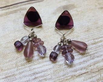Vintage Purple Dangles, Purple Beaded Earrings, Geometric 90s Earrings