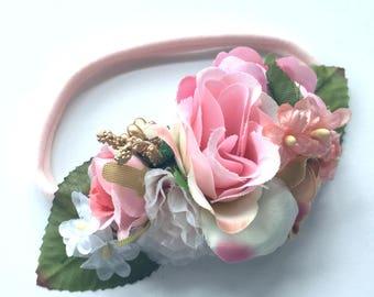 Flower Headband - Silk Flower Garland Hairband - Baby Headband - Newborn Photo Prop - Fall - Pink White Ivory Wildflowers - Woodland Baby