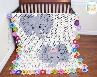 NEW PATTERN Josefina and Jeffery Elephant Blanket PDF Crochet Pattern with Instant Download