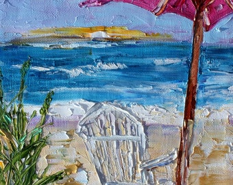 Beach Chair and Umbrella painting original oil abstract impressionism fine art impasto on canvas by Karen Tarlton