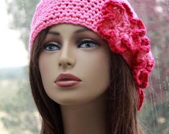 Pink Hat Crochet  Beanie   Womens  Unique Hat Flowers Hat  Womens Pink Hat    Boho Chic Beanie  Womens Fashion Beanie