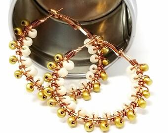 Gold Cream Beaded Hoops - Gift for Her- Beach Boho Jewelry - Tribal Ethnic Earrings - Colorful Summer Hoop Earrings - Seed Bead Hoops