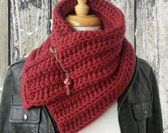 Red Hand Knit Cowl Scarf - Red Ochre Cowl with Shawl Pin - Crochet Neckwarmer