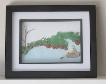 Boat Art, Lake Scene Artwork, Watercraft Art, Driftwood Art, Paddle Boat Art, Gift for Him, Sea Glass Art, Nautical Artwork, Ocean Art