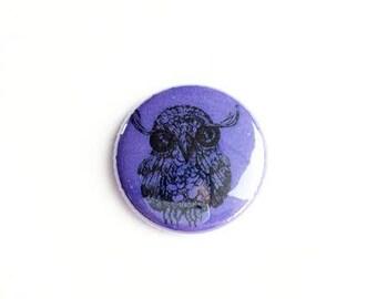 "owl Button -  Pin - owls - 1"" Pin Back Button - Collectible -  Button - owl Button -  bears Button"