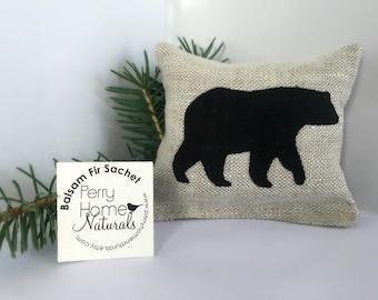 Small Black Bear Balsam Fir Sachet - Maine Balsam Fir Pillow - Small Bear Sachet in Linen Filled with Maine Balsam Fir - Balsam Fir Sachet