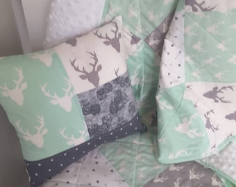 Mint ad Grey woodland Quilt, Baby blanket, play mat