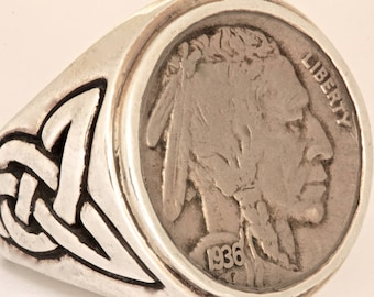 Buffalo Indian Head Nickel Coin Ring In solid sterling silver  Blue Bayer Design NYC