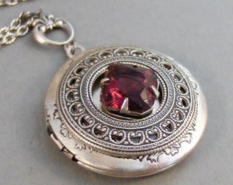SALE Garnet Amulet,Locket,Antique Locket,Silver Locket,Garnet Stone,Vintage Rhinestone,Vintage,Red Stone,Garnet Birthstone. Valleygirldesig