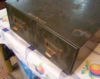 Vintage Green Metal File Drawers, Card File, Shaw Walker, File Cabinet, Industrial Office, Industrial Box, Metal File Box,