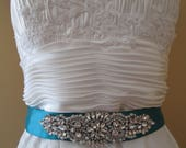 Teal Bridal Sash, Deep Teal Satin Sash Belt, Something Blue Wedding Dress Belt, Crystal & Pearl Bridal Belt, Rhinestone- Diamond Sash