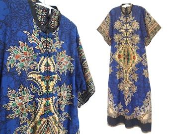 Dashiki Caftan Dress * Vintage Kaftan * Ethnic Print Kimono Dress *