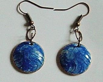 Copper Domed Enamel Earrings