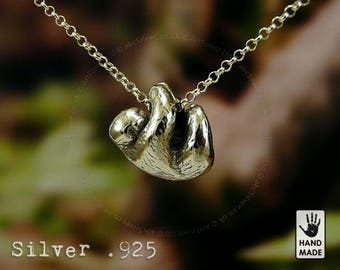 Sloth Sterling Silver Handmade .925 Necklace in a gift box - burnished
