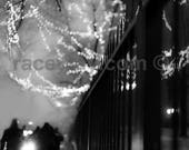 Mysterious Black and White Photography - Surreal City at Night - Dreamy Fairy Lights in Trees, Office Decor