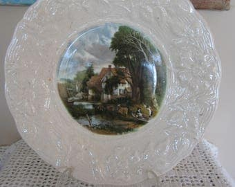 Antique Scenic Plate James Kent Made in England Constable Valley Farm Dish