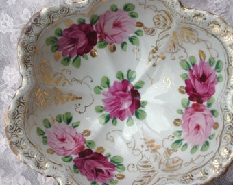 Vintage Footed Rose Bowl, Gold Detailing, Floral, Hand Painted, Red and Pink Roses, Shabby Chic