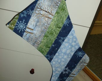 Blue Quilted Christmas Stocking