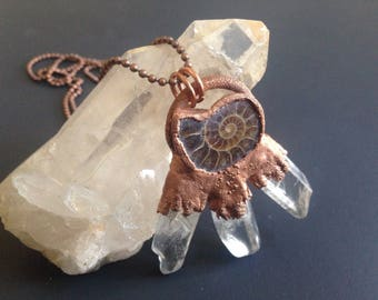 Ammonite Crystal Pendant || Crystal Point Necklace || Electroform Fossil Amulet