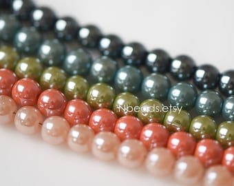 Smooth Round Glass beads 6mm, Sparkly Multi Colors (GM019)/ 100 beads