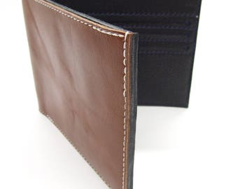 Tan and black leather card wallet