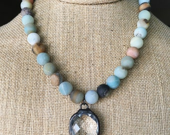 Amazonite & Soldered Crystal Necklace