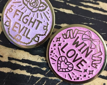 Fight Evil Win Love Enamel Pin Set or Singles