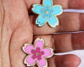 Kawaii Cherry Blossom Sakura Hard Enamel Pins - Pink or Blue