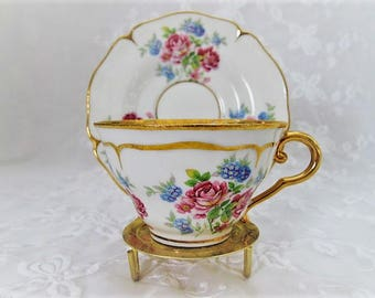 Vintage FRANCE Teacup and Saucer, French Fine Bone China Tea cup Set with Pink Roses, Made in France, ECS