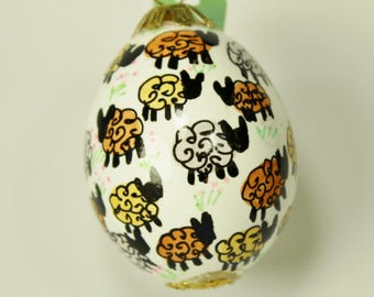Hand decorated Blown Egg Ornament (Golden Sheep)