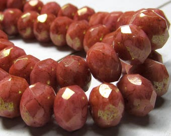 Czech Glass Beads 9 x 5mm Opaque Coral Pink and Gold Dusted Faceted Rondelles - 25 Pieces