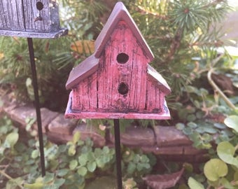 SALE Mini Rustic Birdhouse Stake, Red House, 2 Openings, Fairy Garden Accessory, Miniature Home and Garden Decor