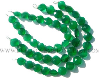 Gemstone Beads, Green Onyx Faceted Cushion (Quality AAA) / 10 to 12 mm / 18 cm / GR-103