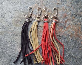 Faux suede tassel - handmade tassle - zipper pull  - key chain - purse charm - clip on accessory - red - black - olive green