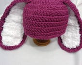 RESERVED Plum Bunny Baby Hat, Made by Charlene, Photo Prop, Easter Hat, Long Eared Rabbit Cap