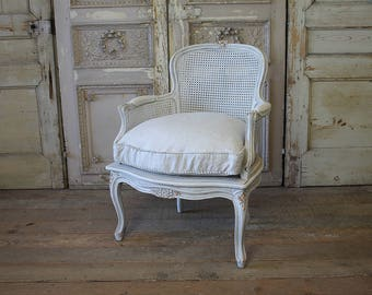 French Country Cane Bergere Chair with Custom Linen Down Cushion