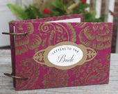 Letters to the Bride, Wedding Advice Book, Advice for Bride Book, Marriage Advice Book, Book with Removable Pages, Paisley on Fuchsia