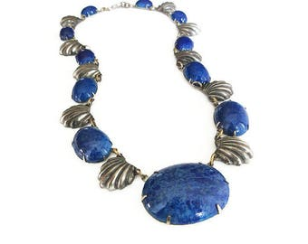 Art Deco Silver Lapis Glass Necklace - Blue Glass, Silver Pot Metal, Scalloped Edge, Embossed Design, Art Deco Jewelry, Antique Jewelry